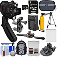 Olympus Tough TG-Tracker UHD 4K Wi-Fi GPS Shock Waterproof Video Camera Camcorder (Black) + 64GB Card + Backpack + Battery & Charger + Tripod + Actions Mounts Kit