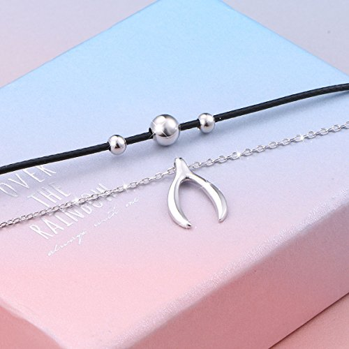 925 Sterling Silver Good Luck Wishbone Bead Charm Choker Necklace Gift for Women by LINLIN FINE JEWELRY (Image #4)