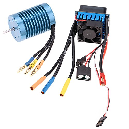 FastWin 3650 4370KV 4P Sensorless Brushless Motor with 45A Brushless ESC(Electric Speed Controller) for 1/10 RC Off-Road Car (3650 4370KV+45A)