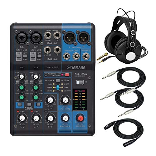 Yamaha MG06X 6-Input Compact Stereo Mixer with Effects Bundle - Includes Knox Gear Closed-Back Studio Monitor Headphones, 1/4-Inch TRS Cables, and XLR Cable (5 Items)