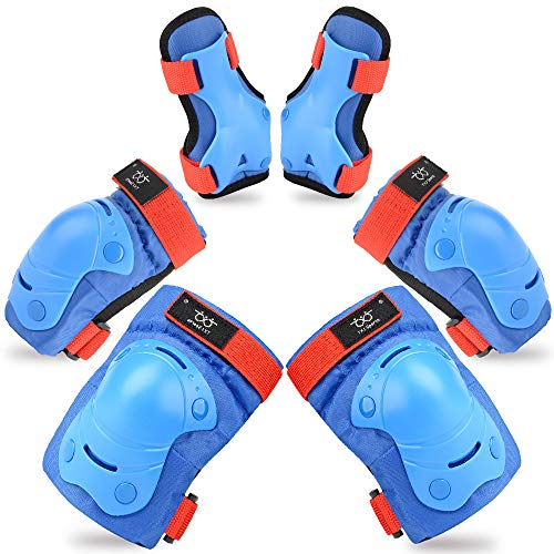 TXJ Sports Kids Knee Pads Elbow Pads Wrist Guards Protective Gear Set for Skateboarding Skating Bike Rollerblade Bicycle Inline Scooter - Pads Elbow Action