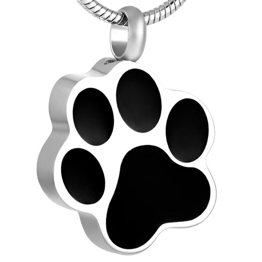 Pet Paw Ashes Keepsake Cremation Urn Pendant Memorial Jewelry Funeral Urns Necklace +Free 20 Inch Chain& fill kit &Box (sliver 2)