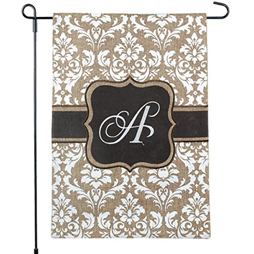 (Home Garden Flags Monogram - Damask Cream & Chocolate Brown - 12.5 x 18 (Letter A) )