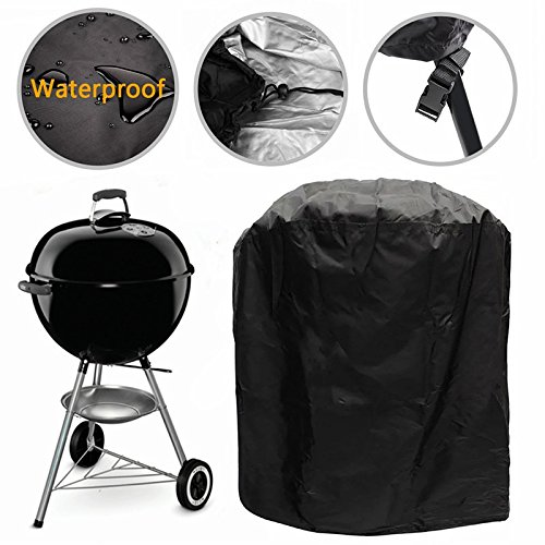 Grill Cover Kettle Barbecue Cover Durable Outdoor Round BBQ Cover Water Resistant with Buckle Straps for Most Charcoal Kettle Grills, Dia 30