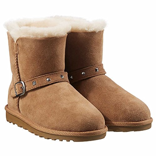 Kirkland Signature Girls Shearling Buckle Boots with Studs (Chestnut, 3)