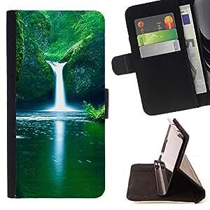 - Spring Waterfall - - Monedero PU titular de la tarjeta de cr????dito de cuero cubierta de la caja de la bolsa FOR Samsung Galaxy S6 EDGE RetroCandy