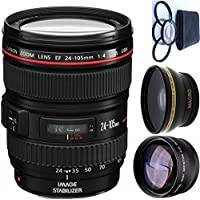 Canon 24-105mm L Lens (WHITE BOX) + 4pc Macro Lenses Set (+1 +2 +4 +10) + High Definition Wide Angle Auxiliary Lens + High Definition Telephoto Auxiliary Lens