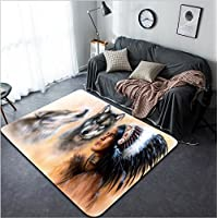Vanfan Design Home Decorative 244690717 A beautiful airbrush painting of an young indian warrior accompanied with two wolves Modern Non-Slip Doormats Carpet for Living Dining Room Bedroom Hallway Offi
