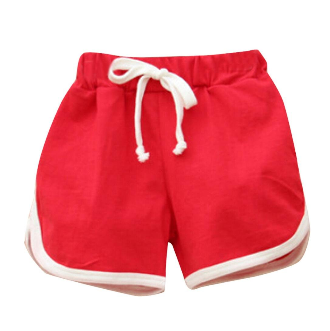 Anxinke Little Girls Candy Color Athletic Pants Summer Beach Shorts