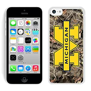 Custom iPhone 5C Ncaa Big Ten Conference Football Michigan Wolverines 11 White Screen Phone Case Unique and Luxury Design