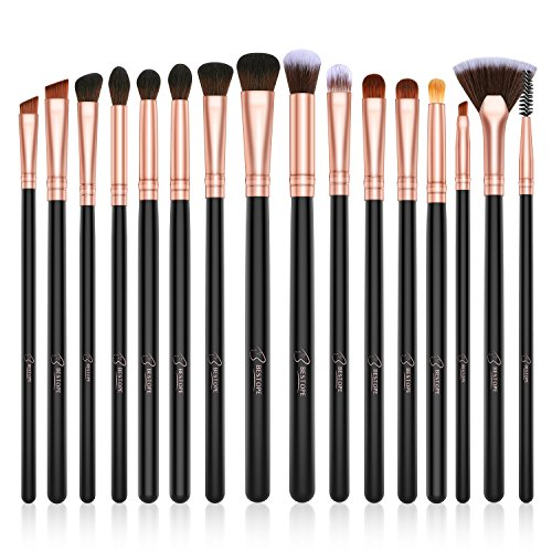BESTOPE Eye Makeup Brushes Set, 16 Pieces Professional Cosmetics Brush, Eye Shadow, Concealer, Eyebrow, Foundation, Powder Liquid Cream Blending Brushes Set with Premium Wooden Handles - Lancome Angle Shadow Brush