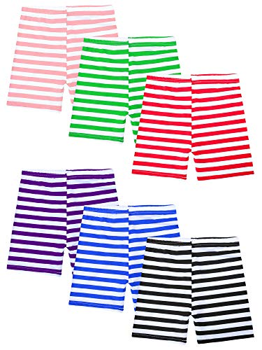 - URATOT 6 Pack Stripe Bike Shorts Underwear Shorts Girls' Dance Shorts 6 Colors (Colored Stripes, 6/7T)