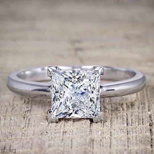 Cut Moissanite Solitaire - Best seller 1 Carat Princess cut Moissanite Solitaire Engagement Ring
