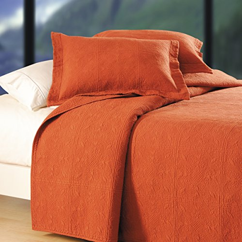 "C&F Home Matelasse Cotton Quilt, Euro Sham 26"" x 26"", Terra Cotta"