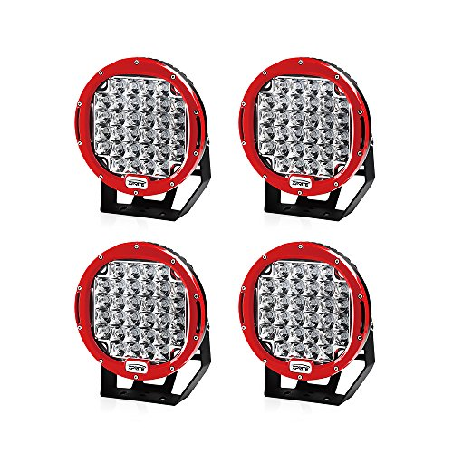 Xprite 96 Watt 9-inch Cree LED Fog Spotlight and Round Work Lamp with Roof Bar Bumper (4-Pack, Red)