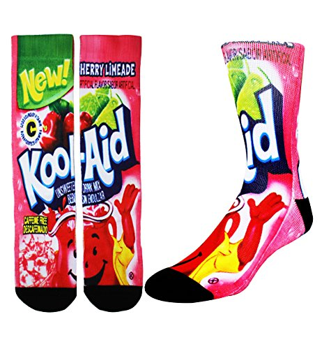 Zmart Men's Crazy Fun Color Athletic Sports Mismatch Crew Cotton Socks,Kool Aid,Socks size 9-13 (His And Hers Cartoon Shirts)
