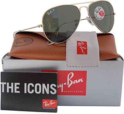 Ray-Ban RB3025 Small Aviator Polarized Sunglasses Shiny Gold w/Crystal Green (001/58) 3025 00158 55mm - Polarized Rb3025 Ban Aviator 001 Ray 3025 Gold 58