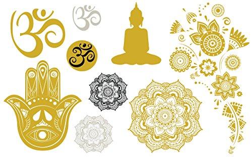 Yoga Metallic Gold & Silver Temporary Tattoo Set - Metallic Mandalas, Shiva, Hamsa, Aum - 2 Sheets, 18 Total Semi-Permanent Tattoos - Custom Flash Tattoos