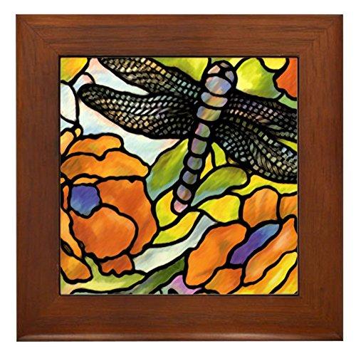 CafePress - Dragonfly Framed Tile - Framed Tile, Decorative Tile Wall Hanging