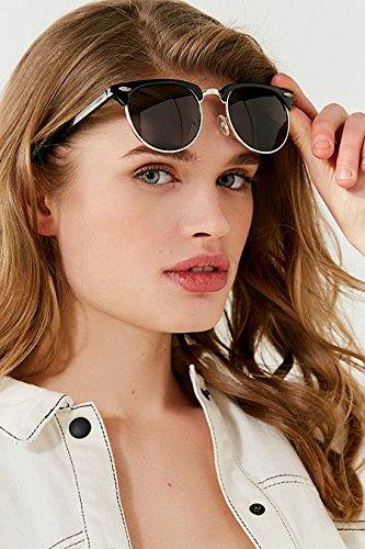 gafas ADEWU Marco espejo aviador mujer Negro con Gafas Gris de Lente sol de marco para 1 medio zxnOzUqr