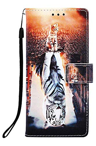 WIITOP For Apple iPhone 8 Case,iPhone 7 Case,iPhone 6s Phone Case,iPhone 6 Cover PU Leather Wallet Kickstand Wrist Strap Credit Card Slot Magnetic Closure Stand Flip Full Body Protective Cat and Tiger (Iphone 6 Best Price Canada)