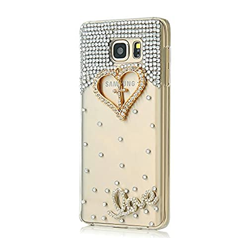 Note 5 Case, Galaxy Note 5 Case - Mavis's Diary 3D Handmade Bling Crystal Golden Love Heart Cross with Shiny Diamonds Gems Clear Cover Hard PC Case for Samsung Galaxy Note - Juicy Full Diamond
