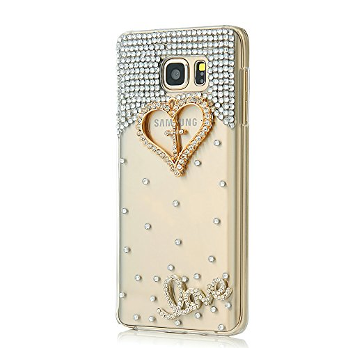 Mavis's Diary Note 5 Case, Galaxy Note 5 Case 3D Handmade Bling Crystal Golden Love Heart Cross with Shiny Diamonds Gems Clear Cover Hard PC Case for Samsung Galaxy Note 5