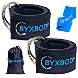ByxBody Ankle Straps for Cable Machines and Resistance Band plus Carry Bag - Padded Ankle Strap Attachment for Weightlifting Leg Gym Workout, Fitness Ankle Cuffs by
