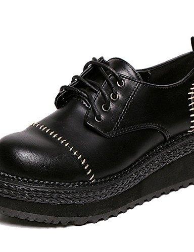 NJX/ Damenschuhe - Oxfords - Outddor - Kunstleder - Keilabsatz - Komfort - Schwarz black-us6.5-7 / eu37 / uk4.5-5 / cn37