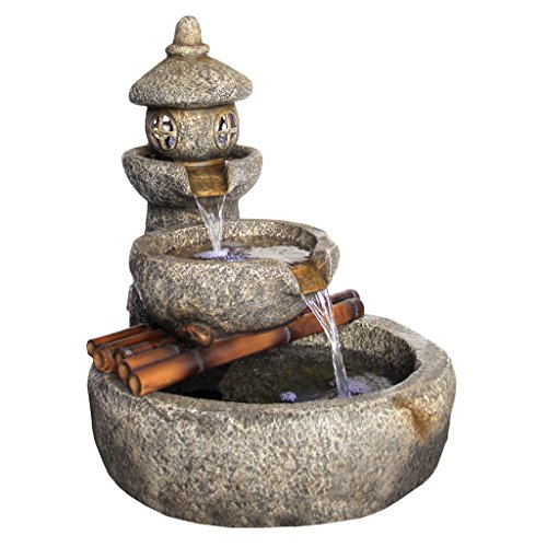 51EMsvJNizL - Asian Decor Water Fountain with LED Light - Tranquil Springs Pagoda Fountain - Outdoor Water Feature