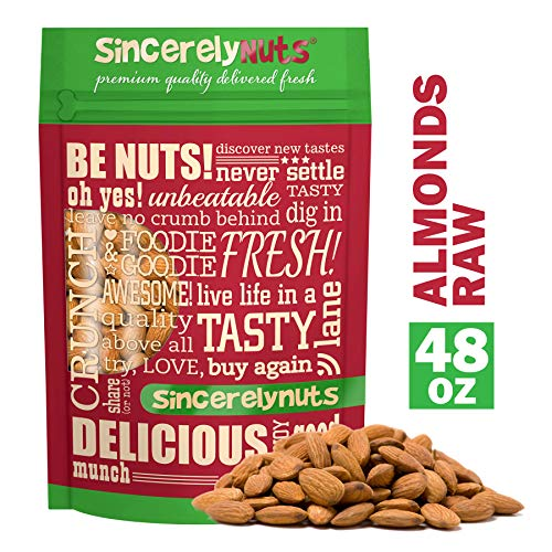 Sincerely Nuts - Natural Whole Raw Almonds Unsalted No Shell | 3 Lb. Bag | Low Calorie, Low Sodium, Kosher, Vegan, Gluten Free | Gourmet Kosher Snack Food | Source of Fiber, Protein, Nutrients (Calories In A Cup Of Almond Flour)