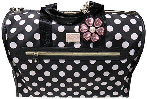 Betsey Johnson Large Nylon Weekender Duffel Bag, Black/White Polka Dots ()