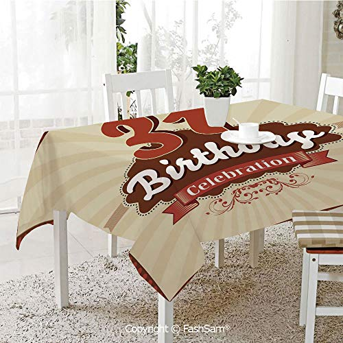 3D Dinner Print Tablecloths Old Fashioned Retro Celebration Label Tablecloth Rectangle Table Cover for Kitchen(W60 xL84) ()