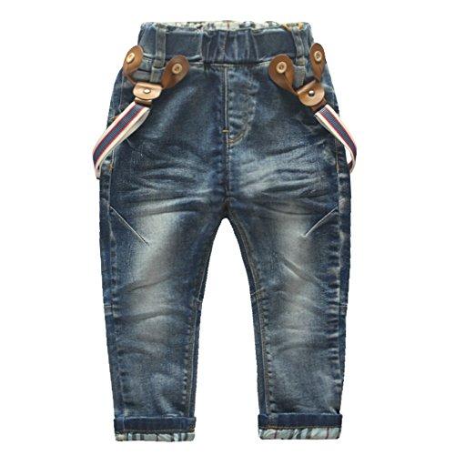 Coodebear Little Boys' Baby Denim Jeans Rompers Vintage Lattice Bottom Pants