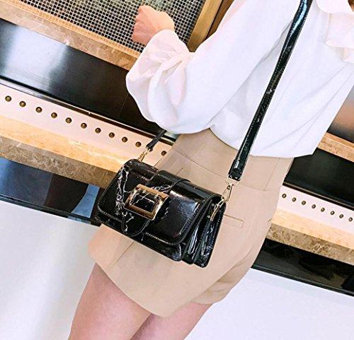 sac diagonale de marbre sac à sac sacoche mode transport sac Femmes d'embrayage main bandoulière Black messager en sacs tendance à texture bandoulière wqt5xIH