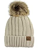 C.C Thick Cable Knit Faux Fuzzy Fur Pom Fleece Lined Skull Cap Cuff Beanie, Beige