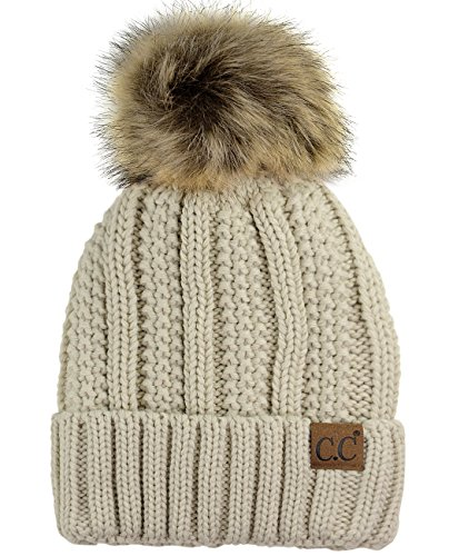 C.C Thick Cable Knit Faux Fuzzy Fur Pom Fleece Lined Skull Cap Cuff Beanie, Beige ()