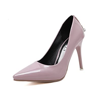 AdeeSu Womens Spikes Stilettos Low-Cut Uppers Pointed-Toe Leather Pumps Shoes