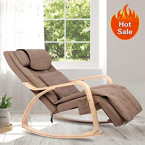 OWAYS Massage Chair 3D Full Back Massager, Rocking Design, Adjustable Pillow, Vibrating and Heating, 6 Massage Modes, Wooden Handrail, Linen Cover with Diamond Design