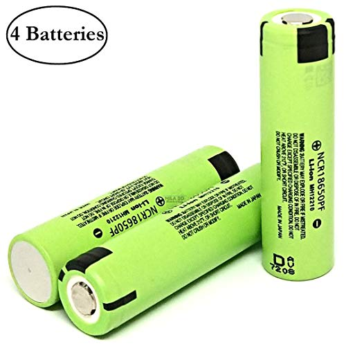 4 Pack Original NCR18650PF 2900mAh 10A Rechargeable Panasonic Li-ion Battery Flat Top for Electric Tools, Toys, LED Flashlights, Torch, and Etc