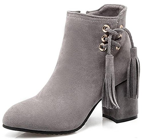 IDIFU Womens Retro Mid Chunky Heels Round Toe Short Boots Side Zipper Frosted Ankle Booties With Fringes Gray 6x1PepE