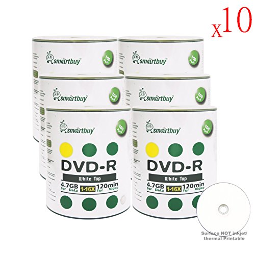 Smartbuy 4.7gb/120min 16x DVD-R White Top Blank Data Video Recordable Media Disc (6000-Disc) by Smartbuy