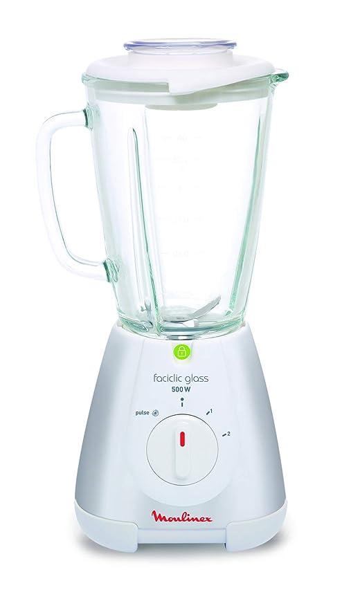Moulinex Faciclick Cristal LM310113 Batidora de vaso con potencia de 500 W regulables a través de dos velocidades, vaso de cristal de 1.25 litros, ...