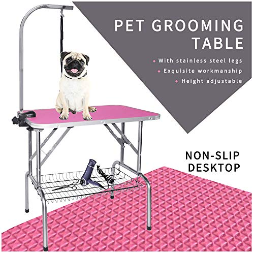 (LEIBOU Pet Dog Grooming Table Foldable Grooming Table Heavy Duty Stainless Steel Frame with Arm & Noose & Mesh Tray for Dog Cat Pet Grooming Pink(32