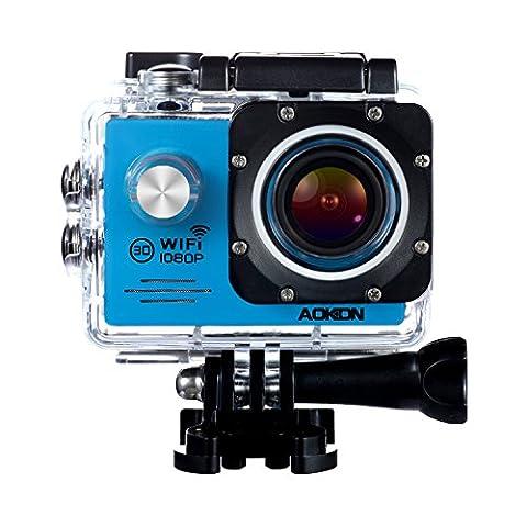 Aokon Underwater Action Camera ASJ70 Waterproof Sports WiFi 1080P 12M HD Helmet Motorcycle Digital Video Cam with 170 Wide Angle Lens 2.0 LCD 4X Zoom 2 Batteries and 19 Accessories Kit (Waterproof Camera With Zoom)