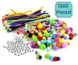 "1500-Piece Arts & Crafts Supply Kit Super Value-Pack with 750 Pom Poms, 300 12"" Pipe Cleaners, & 450 Googly Eyes; Great for Children, Hobbies & DIY Projects Contents of Variety Pack: Pipe Cleaners: 300 pieces, each 12"" long x 6mm,..."