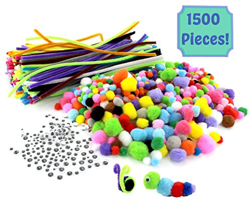 "1500-Piece Arts & Crafts Supply Kit Super Value-Pack with 750 Pom Poms, 300 12"" Pipe Cleaners, & 450 Googly Eyes; Great for Children, Hobbies & DIY Projects"