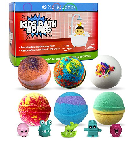 Kids Bath Bombs Gift Set with Surprise Toys inside - Set of 6 - Best XL Natural Lush Scented Bath Fizzies, Kids Safe, Gender Neutral Toys Organic Handmade in the USA