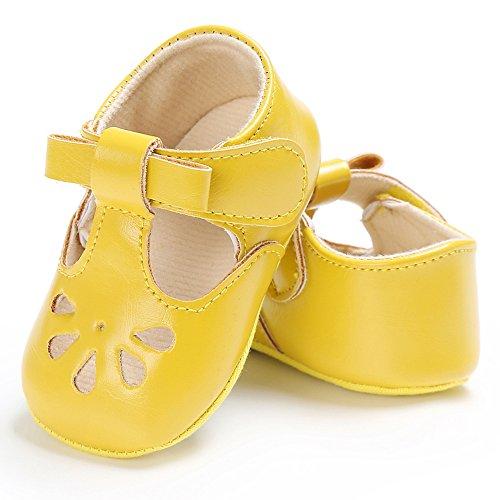 Semelle Bowknot Chaussures Non Bébé Cm Sandale Doux Jaune Préwalker slip Filles Princesse Decdeal 11 En Rose Cuir Creux wqISUHFwx