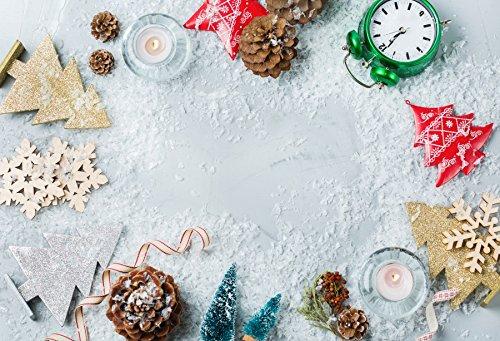 Baocicco クリスマスエレメント 雪の結晶 ホワイトボード 背景 5x3フィート コットンポリエステル 写真 背景 松 コーン パパカット クリスマスツリー 雪の結晶 ドライフルーツ 時計 冬 イブ パーティー 新年 ホリデー   B07FSCFDQD